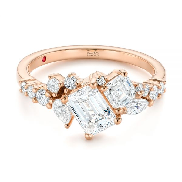 14K Rose Gold Custom Yellow Gold Diamond Cluster Engagement Ring - Flat View -  104052 - Thumbnail