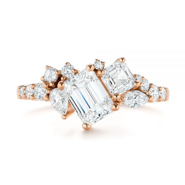 14K Rose Gold Custom Yellow Gold Diamond Cluster Engagement Ring - Top View -  104052 - Thumbnail