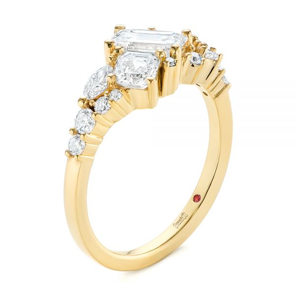 Custom Yellow Gold Diamond Cluster Engagement Ring - Image