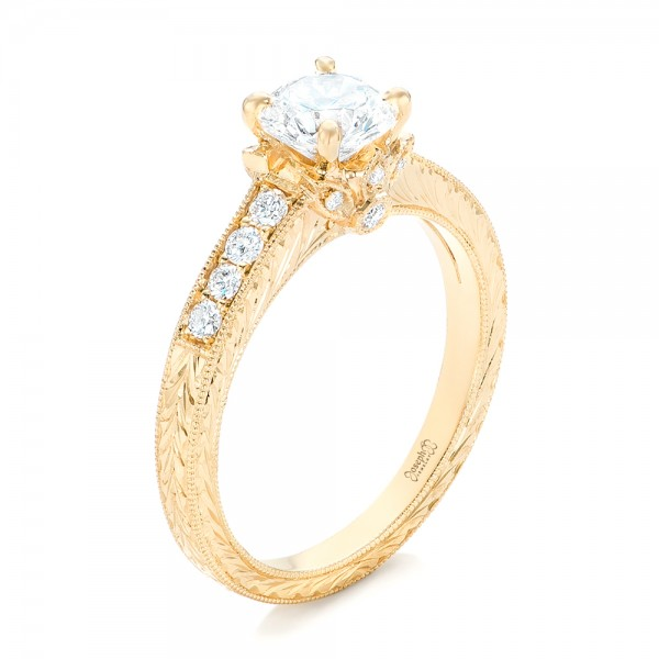 custom yellow gold diamond engagement ring - Gold Diamond Wedding Rings