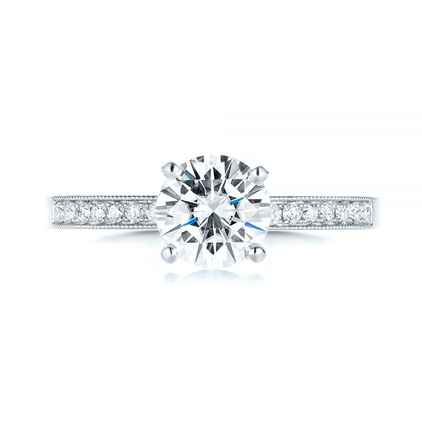 14k White Gold 14k White Gold Custom Diamond Engagement Ring - Top View -