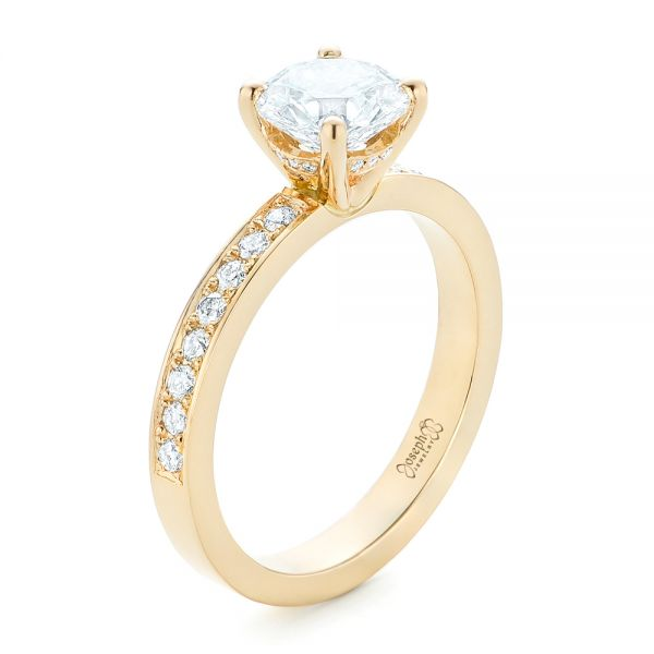 18k Yellow Gold Custom Diamond Engagement Ring - Three-Quarter View -