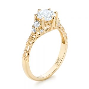 Custom Yellow Gold Diamond Engagement Ring - Image