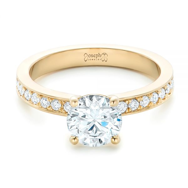 18k Yellow Gold Custom Diamond Engagement Ring - Flat View -