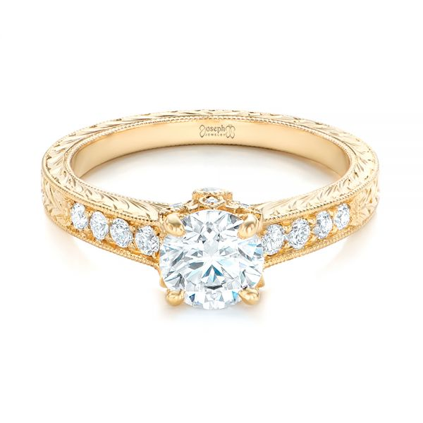 Custom Yellow Gold Diamond Engagement Ring - Flat View -  102471 - Thumbnail