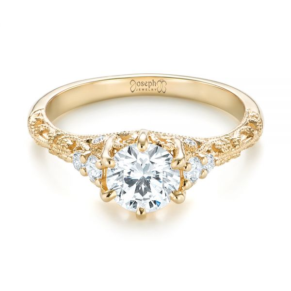 Custom Yellow Gold Diamond Engagement Ring - Flat View -  103227 - Thumbnail