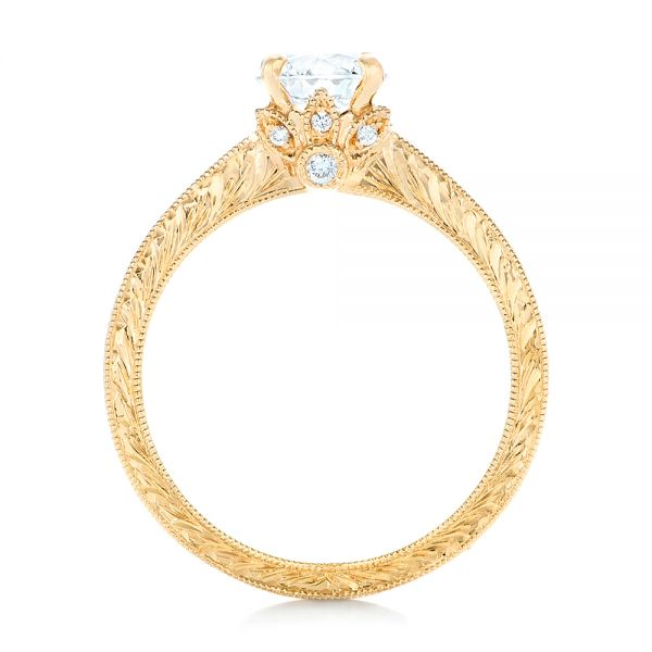 Custom Yellow Gold Diamond Engagement Ring - Front View -  102471 - Thumbnail