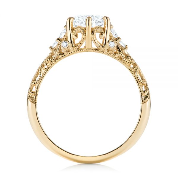 Custom Yellow Gold Diamond Engagement Ring - Front View -  103227 - Thumbnail