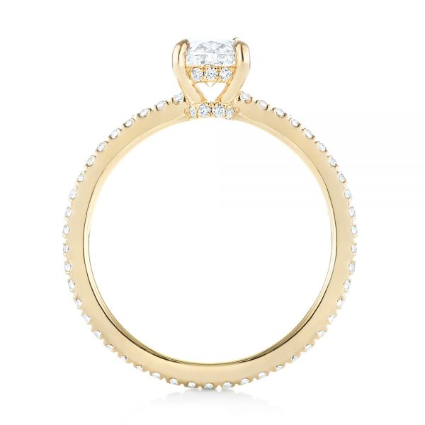 14k Yellow Gold Custom Diamond Engagement Ring - Front View -