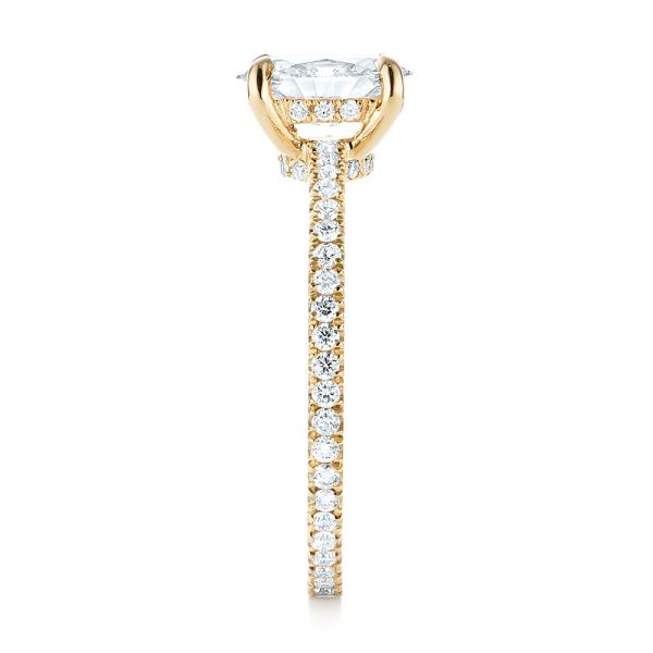 14k Yellow Gold Custom Diamond Engagement Ring - Side View -