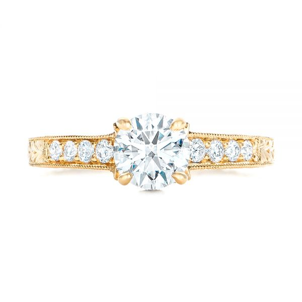 Custom Yellow Gold Diamond Engagement Ring - Top View -  102471 - Thumbnail