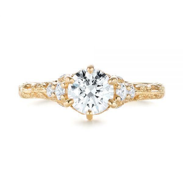 Custom Yellow Gold Diamond Engagement Ring - Top View -  103227 - Thumbnail