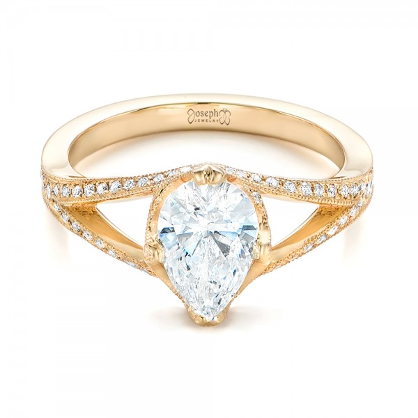 Custom Yellow Gold Diamond Engagement Ring