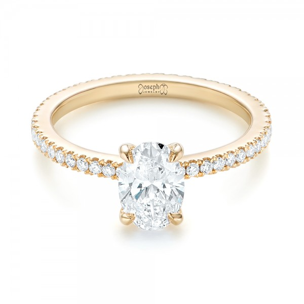 Custom Yellow Gold Diamond Engagement Ring - Laying View