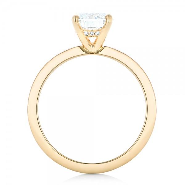 Custom Yellow Gold Diamond Engagement Ring - Finger Through View