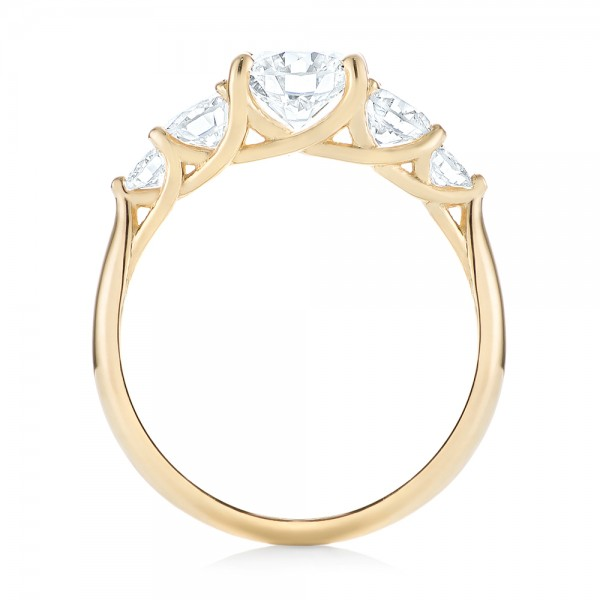 Custom Yellow Gold Diamond Engagement Ring - Finger Through View