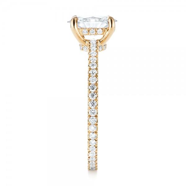Custom Yellow Gold Diamond Engagement Ring - Side View