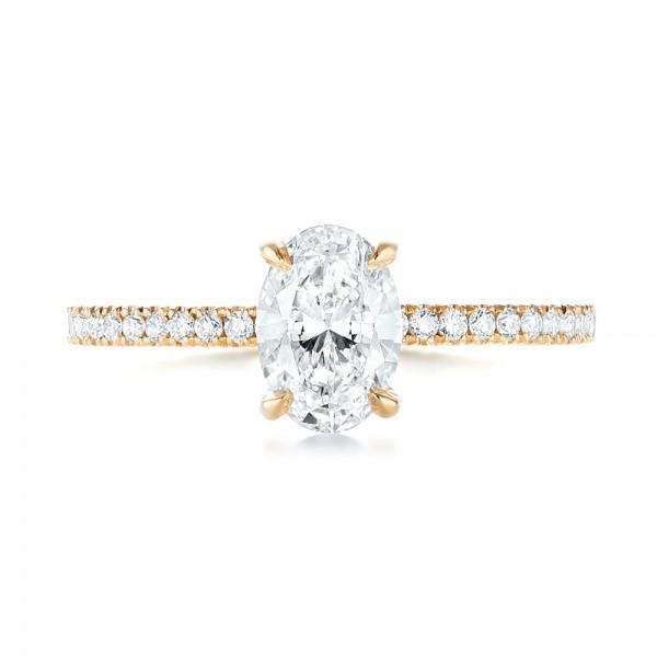 Custom Yellow Gold Diamond Engagement Ring - Top View