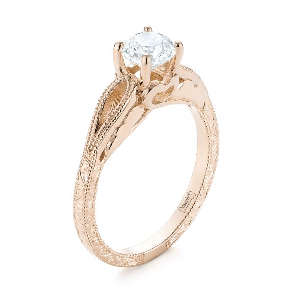 18k Rose Gold 18k Rose Gold Custom Diamond Solitaire Engagement Ring - Three-Quarter View -