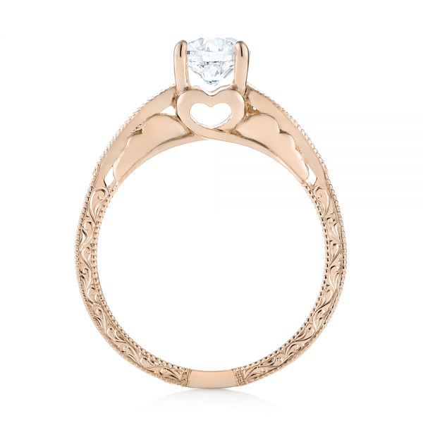 18k Rose Gold 18k Rose Gold Custom Diamond Solitaire Engagement Ring - Front View -