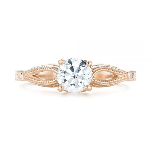 18k Rose Gold 18k Rose Gold Custom Diamond Solitaire Engagement Ring - Top View -