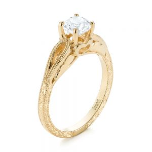 Custom Yellow Gold Diamond Solitaire Engagement Ring