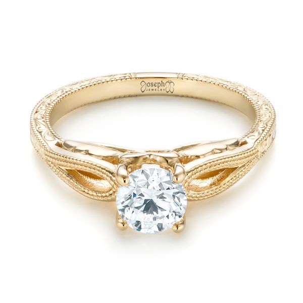 14k Yellow Gold Custom Diamond Solitaire Engagement Ring - Flat View -