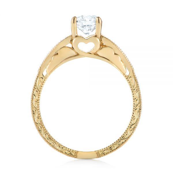 14k Yellow Gold Custom Diamond Solitaire Engagement Ring - Front View -