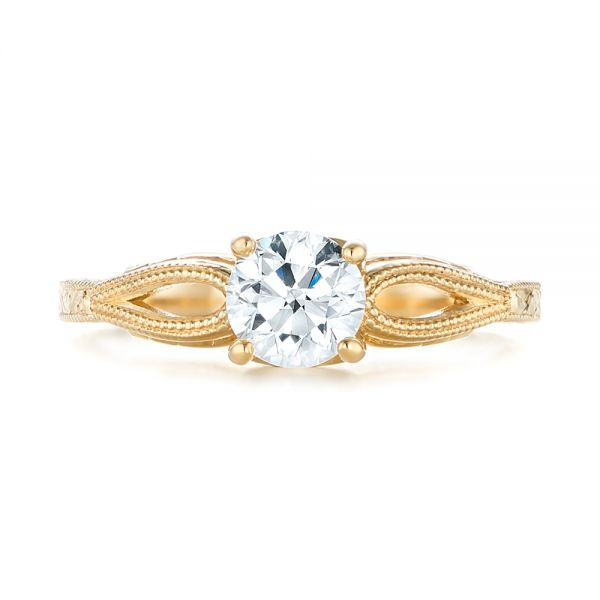 14k Yellow Gold Custom Diamond Solitaire Engagement Ring - Top View -