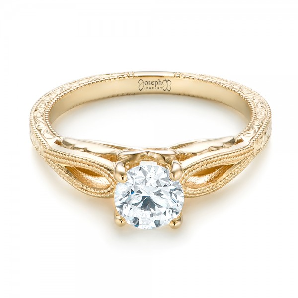 Custom Yellow Gold Diamond Solitaire Engagement Ring - Laying View