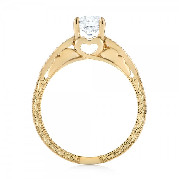 Custom Yellow Gold Diamond Solitaire Engagement Ring - Finger Through View