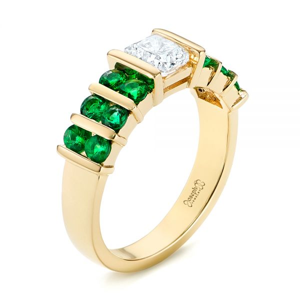 Custom Yellow Gold Emerald and Diamond Engagement Ring - Image