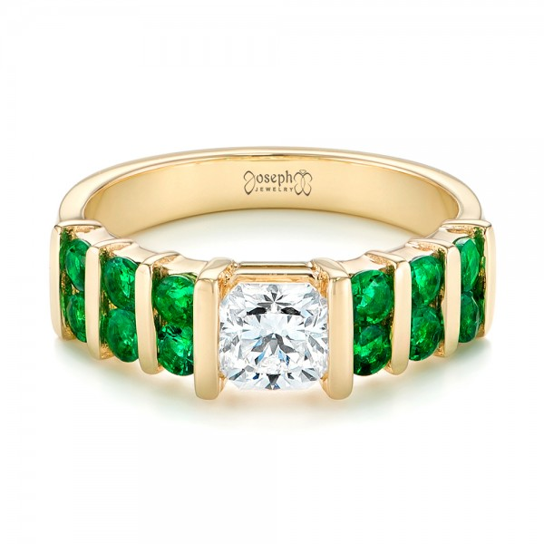 Custom Yellow Gold Emerald and Diamond Engagement Ring - Laying View