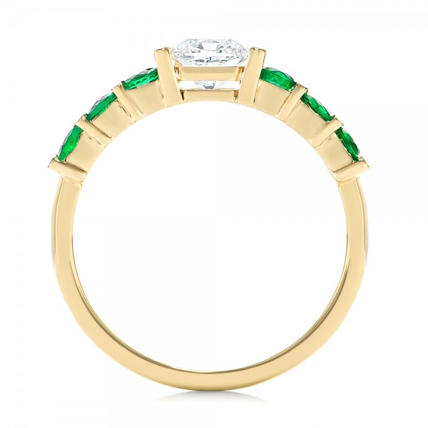 Custom Yellow Gold Emerald and Diamond Engagement Ring - Finger Through View