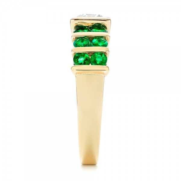 Custom Yellow Gold Emerald and Diamond Engagement Ring - Side View
