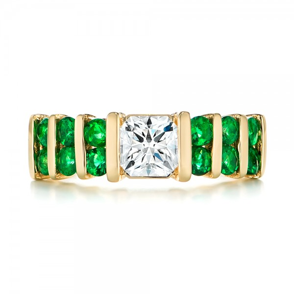 Custom Yellow Gold Emerald and Diamond Engagement Ring - Top View