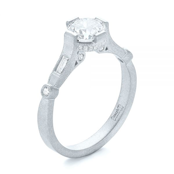 18k White Gold 18k White Gold Custom Sandblasted Diamond Engagement Ring - Three-Quarter View -