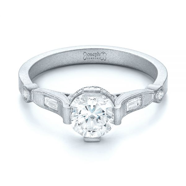 18k White Gold 18k White Gold Custom Sandblasted Diamond Engagement Ring - Flat View -