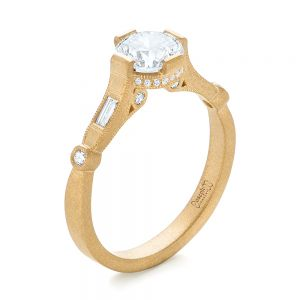 Custom Yellow Gold Sandblasted Diamond Engagement Ring - Image