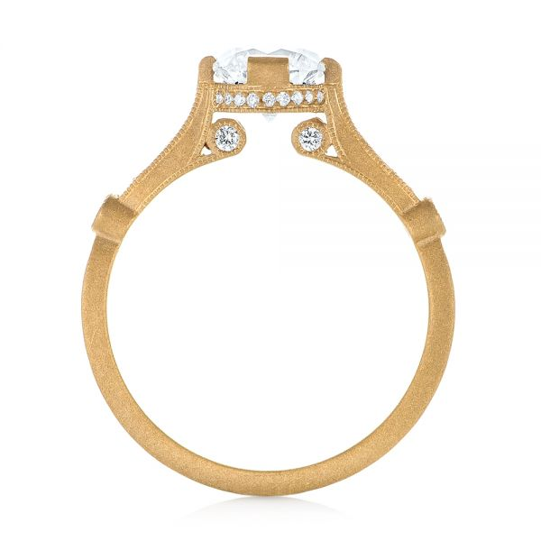 18k Yellow Gold Custom Sandblasted Diamond Engagement Ring - Front View -  103379