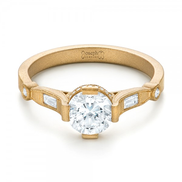 Custom Yellow Gold Sandblasted Diamond Engagement Ring - Laying View