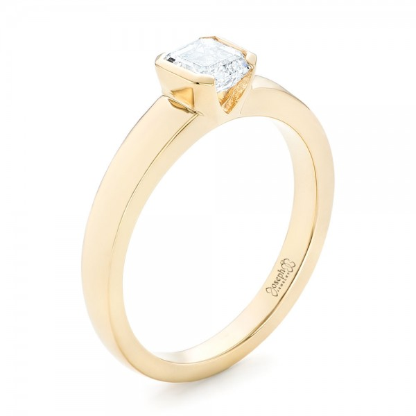 Custom Yellow Gold Solitaire Diamond Engagement RIng - 3/4 View