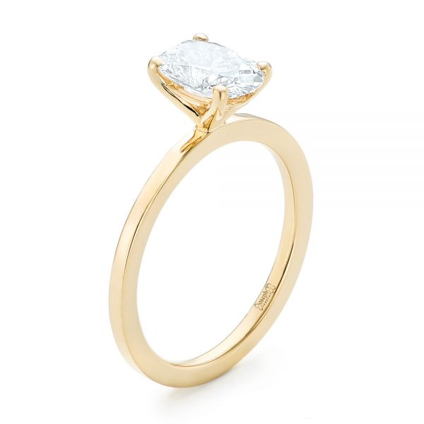 Custom Yellow Gold Solitaire Diamond Engagement RIng - Image