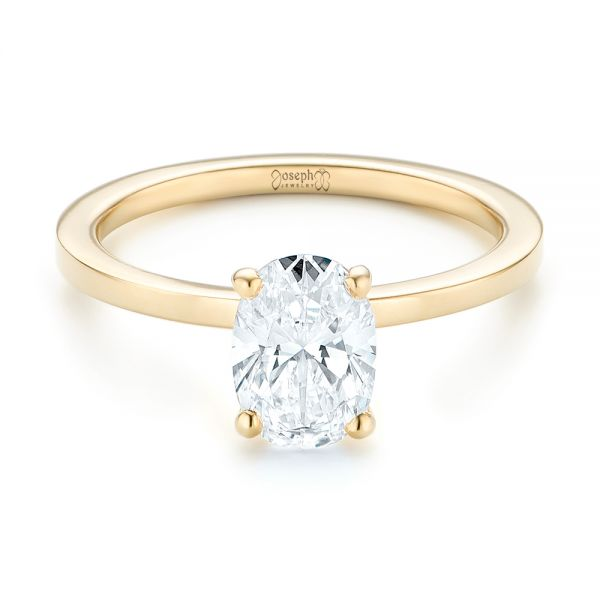 Custom Yellow Gold Solitaire Diamond Engagement RIng - Flat View -  102876 - Thumbnail