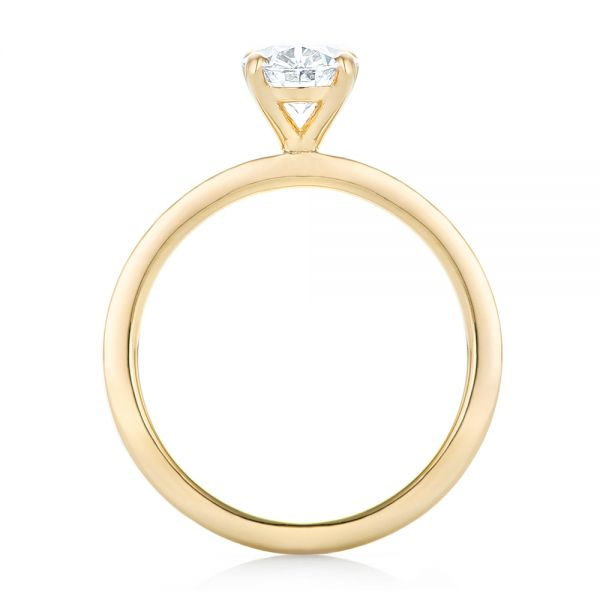 Custom Yellow Gold Solitaire Diamond Engagement RIng - Front View -  102876 - Thumbnail