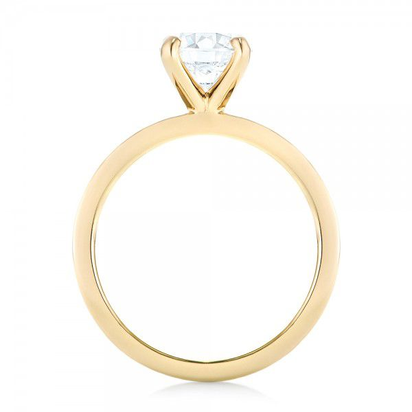 18k Yellow Gold Custom Solitaire Diamond Engagement Ring - Front View -