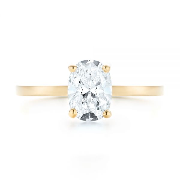 Custom Yellow Gold Solitaire Diamond Engagement RIng - Top View -  102876 - Thumbnail