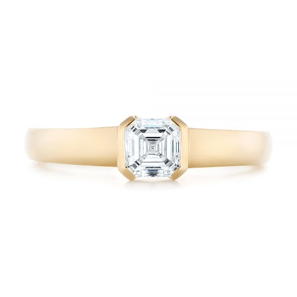 18k Yellow Gold Custom Solitaire Diamond Engagement Ring - Top View -