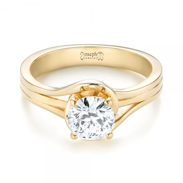 Custom Yellow Gold Solitaire Diamond Engagement Ring - Laying View