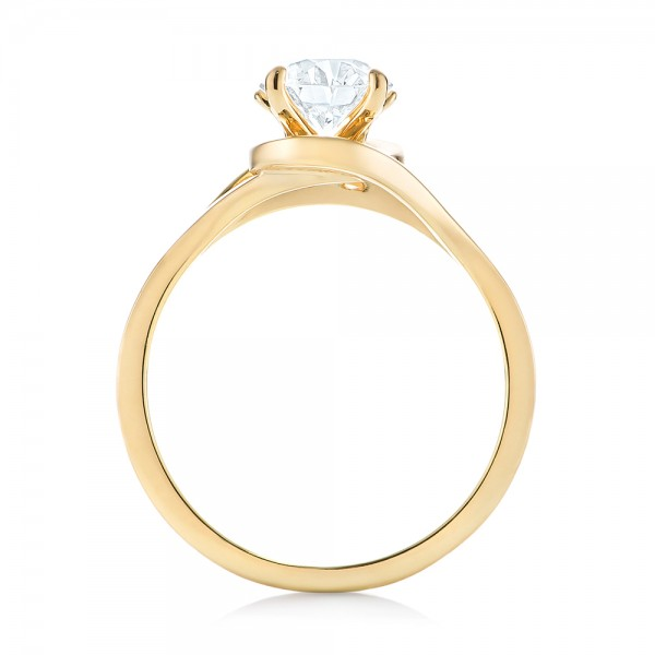 Custom Yellow Gold Solitaire Diamond Engagement Ring - Finger Through View